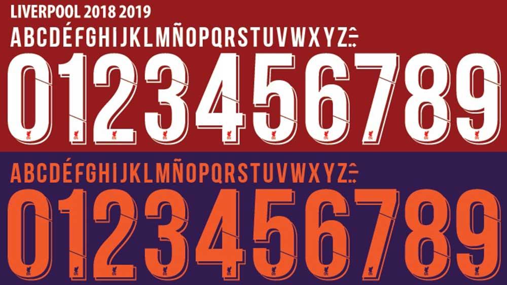 font chữ, font số áo Liverpool 2018-2019